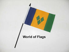 "ST VINCENT and THE GRENADINES SMALL HAND WAVING FLAG 6"" x 4"" Table Desk Display"