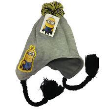 MINIONS cappello con paraorecchie trecce e pon-pon in lana e pile da bambino/a