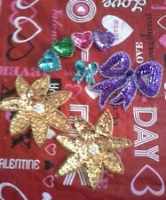 Lot of 4 Beaded Sequins Appliques Crafts Embelishment Sew Glue Bow Hearts Flower