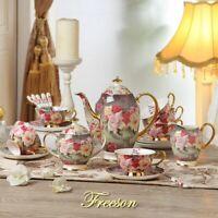 Coffee Set Rose Bone China British Porcelain Ceramic Pot Creamer Sugar Bowl
