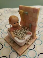 Collectible Resin Figurine Cutest Blond Blu Eye Baby Taking Bubble bath 3.5X2.5""