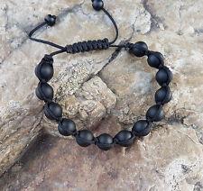 Herren Shamballa Onyx Schwarz Matt Handgemacht perlen Armband  Bracelet Achat