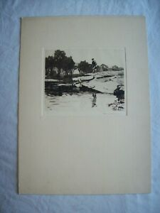"""Norman Wilkinson  """"Fishing out the Tail"""" original pencil signed   Etching"""