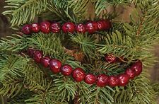 Primitive Faux Cranberry Christmas Tree Garland, 4 feet, Country, Prim, Shabby