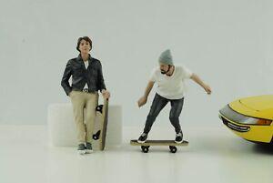 Skateboard Figurine Set Skateboarder 2 Mann Cool 1:18 American Diorama No Car