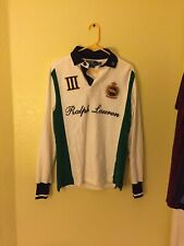 VINTAGE POLO RALPH LAUREN SNOW CHALLENGE CUP 3 EQUESTRIAN SPELL-OUT RUGBY SHIRT