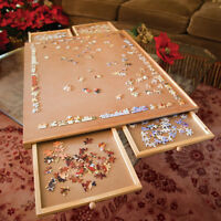 Standard Wooden Puzzle Plateau Piece Jigsaw Work Surface with 4 Drawer Storage