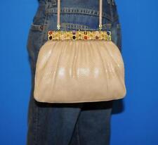 JUDITH LEIBER Beige Karung Snake Skin JEWELED Clutch Frame Shoulder Purse Bag