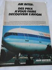 PUBLICITE 1981  Air Inter l'avion moins cher