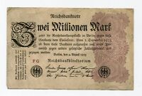 Old Germany 2 Million Mark Reichsbank Note Dated 1923 German Inflation Money