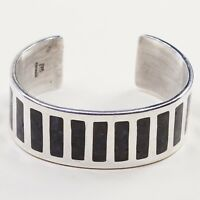 "7.5"", Vtg HOB Sterling Silver Handmade wide Cuff, 925 L Bracelet W/ Turquoise In"
