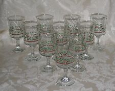 Arby's 12 Oz Christmas Holly Berry Goblet Gold Rim Water/Wine Glasses Set of 10