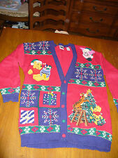 Vintage  Christmas Sweater Disney Store Winnie Pooh Tigger Eeyore Womens S