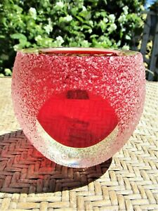 Vintage 1960's Murano Style Sommerso Frosted Red Colored Art Glass Votive Holder