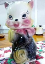Vintage American Bisque Fluffy Cat Cookie Jar Kitten  ds