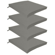 Grey 4 Pack Seat Chair Cushions Outdoor Garden Tie On Waterproof Pad Zip Cover