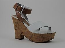 Marc Fisher Women's Sabina Ankle Strap Sandals White Leather Size 9 (B, M)