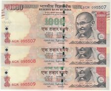 LOT OF 3 CONSECUTIVE 1000 RUPEES GANDHI ISSUE OLD SERIES R.B.I. BANK NOTE IN UNC