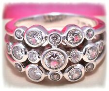 ❤️925 CC Sterling Silver Cubic Zirconia CZ Bubble Bezel 3 Row Ring Sz 6.5❤️