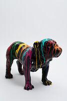 NOTTINGHAM - Statue sculpture resine chien bouledogue anglais M 75cm animal deco