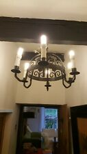 Rustic Gothic Medieval wrought iron chandelier 40 years old.
