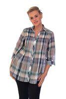 New Womens Boy Friend Check Shirt Blouse T-Shirt Top Nouvelle Ladies Plus Size
