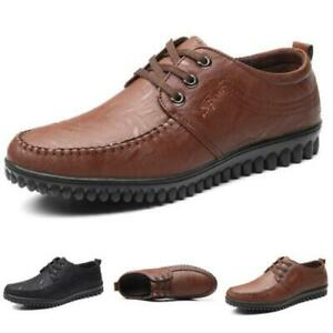Mens Faux Leather Driving Moccasins Shoes Pumps Loafers Lace up Flats Walking D