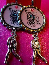 Day Of The Dead Sugar Skull With Walking Dead Zombie Dangle Charm Earrings #49