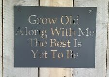 Grow Old Along With Me Metal Wall Art Hanging Home Decor Rustic Primitive Sign