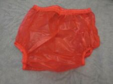 "ADULT BABY BRIGHT RED PLASTIC PANTS. SIZE M MEDIUM,  26""-31"" WAIST APPROX"