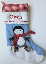 POTTERY BARN KIDS BLUE QUILTED PENGUIN CHRISTMAS STOCKING *OWEN* NEW SNOW