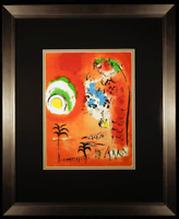 he Bay of Angels Original 1960 Color Lithograph by Marc Chagall Framed