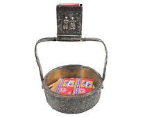 Vintage Antique Silver Ashtray w/ Match Box Holder Striker Port