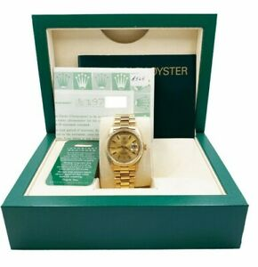 Rolex President Day Date 18038 Champagne 18K Yellow Gold Box Papers