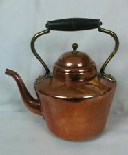 Vintage Copper Kettle Douro B+M Portugal Tea Kettle With Brass and Wood Handle