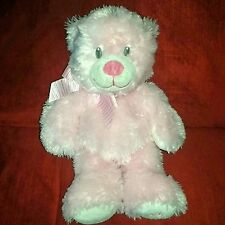 Ty Classic SWEET BABY My First Teddy Pastel Pink Feather Fur plush Bear 2012