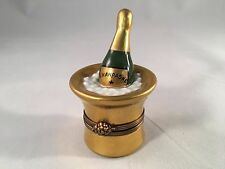 Limoges France Hand Painted Champagne Bucket Trinket Pill Box