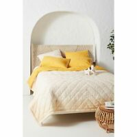 Anthropologie Reversible Auxterre Quilt Yellow King NEW