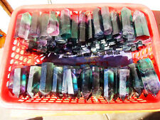 1.1lb 7-12pcs RAINBOW NATURAL Fluorite QUARTZ CRYSTAL WAND POINT HEALING