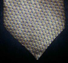 Geoffrey Beene Tie Silk Gold Blue Gray Cube Geometric Design NIB t2777