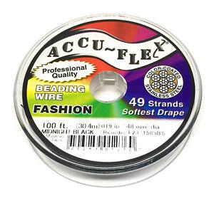 100' Accuflex black beading jewelry wire 49 strand .019 inch
