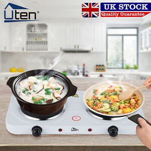 Portable Electric Hot Plate 2000W Double Ring Table Top Kitchen Cooker Stove