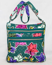 VERA BRADLEY Triple Zip Hipster Crossbody in Falling Flowers Green & Multi