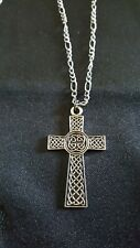 Antique Silver Tone Celtic Cross Necklace 18 inch Figaro style chain