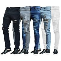 Mens Ripped Slimfit Skinny Jeans Stretch Boys Denim Distress Frayed Biker Jeans