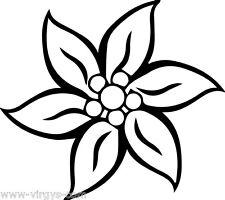 Sticker Fleur d'Edelweiss  10x9cm à 35x30cm Tailles et Coloris Divers (FLEUR031)