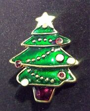 Vintage Enamel Christmas Tree Brooch Pin Green Red Ornaments Gold Tone Star Clip