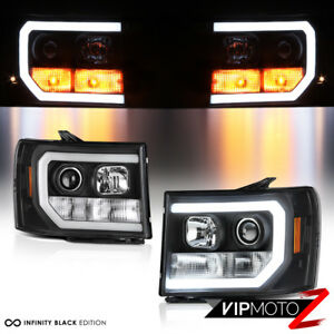 """NEON Tube LED Bar"" 07-13 GMC Sierra 1500 2500HD 3500HD Projector Headlight Lamp"