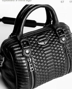 Zadig & Voltaire Sunny XS mat scale moto bag purse satchel $398