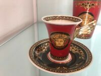 VERSACE MEDUSA RED ESPRESSO CUP & SAUCER    ROSENTHAL  NEW IN BOX